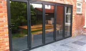 5 part configuration Aluminium Bifolding Door in Grey RAL 7016