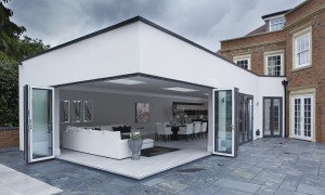 Grey Aluminium External - White Aluminium Internal Bifolding Door. Grey on White